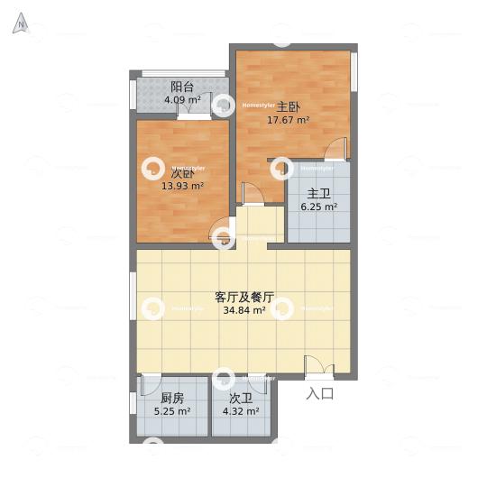 玉泉新城A4号楼1单元503室户型图