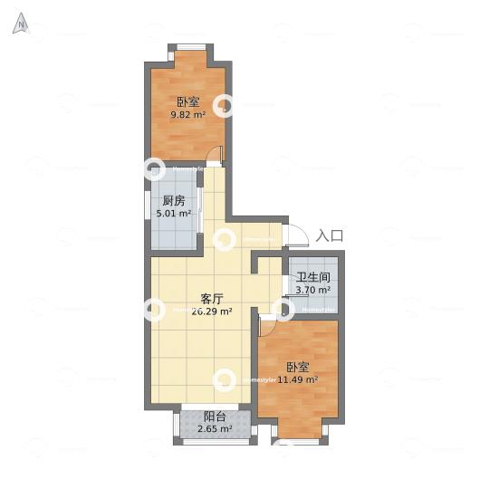 丰台区-赵公口-彩虹城四区-2室1厅1卫户型图