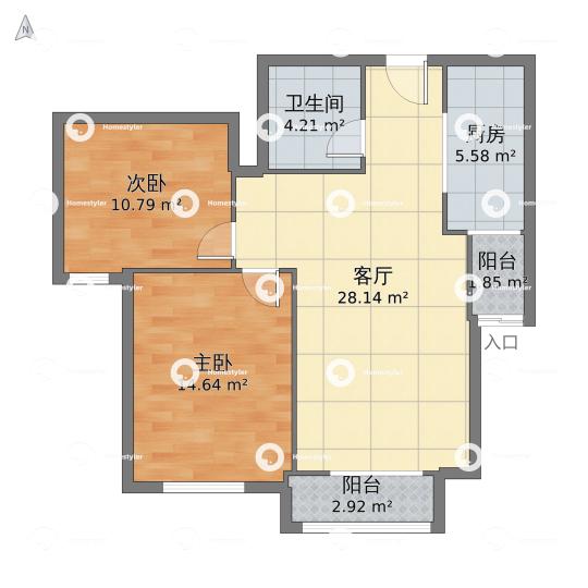 鸿坤礼域府6号楼0801号户型图