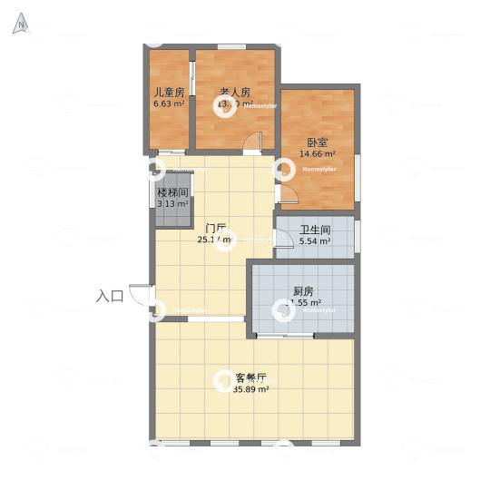 半壁店六建宿舍一层户型图